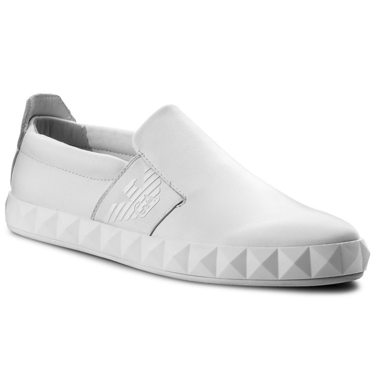Emporio Armani - Scarpe - Sneakers - slip-on con logo laterale white 1