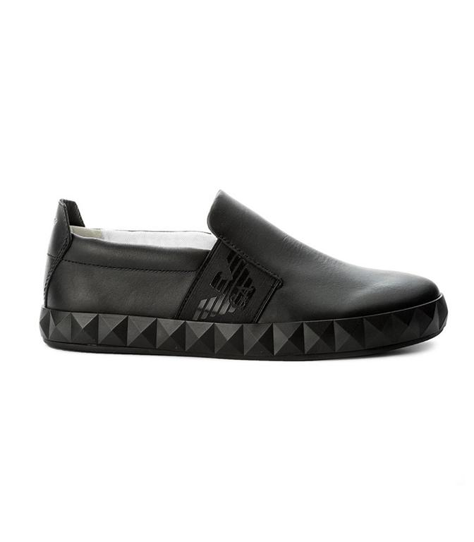 Emporio Armani - Scarpe - Sneakers - SLIP-ON CON LOGO LATERALE BLACK
