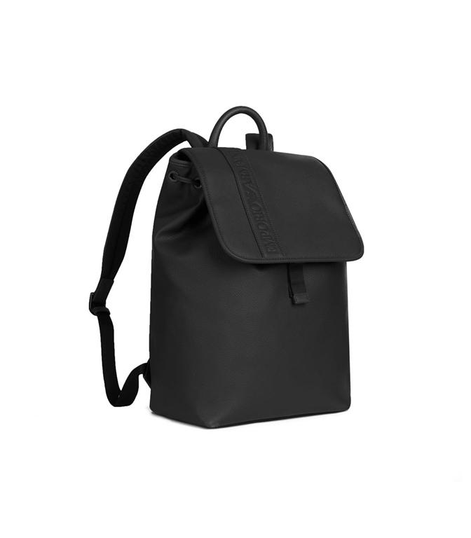 Emporio Armani - Borse - zaino in similpelle con logo pressato black 1