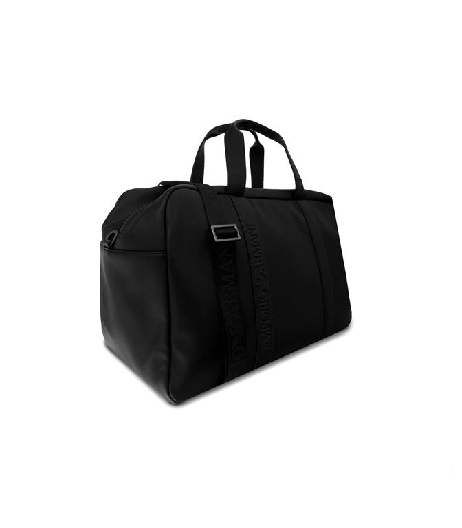 Emporio Armani - Borse - borsone in similpelle con logo nero 1