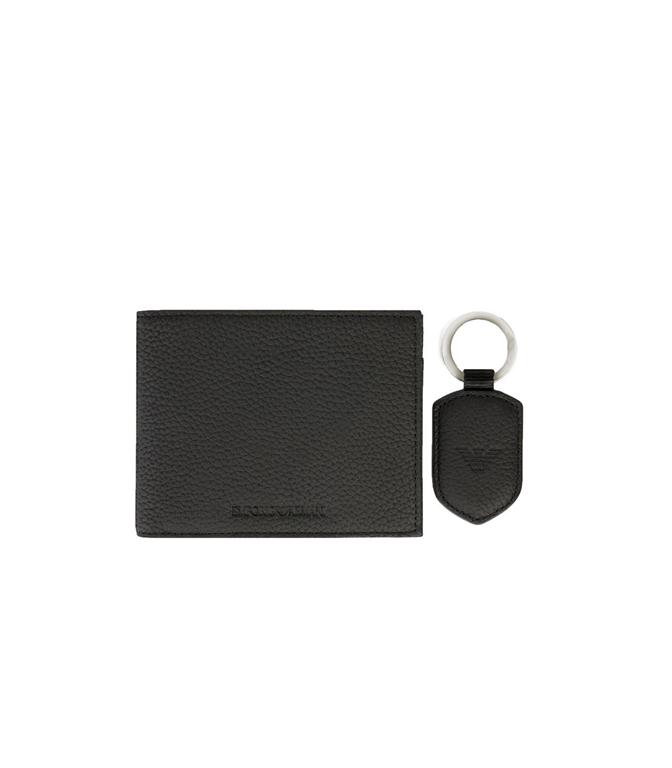 Emporio Armani - Saldi - set portafoglio e portachiavi in pelle martellata nero