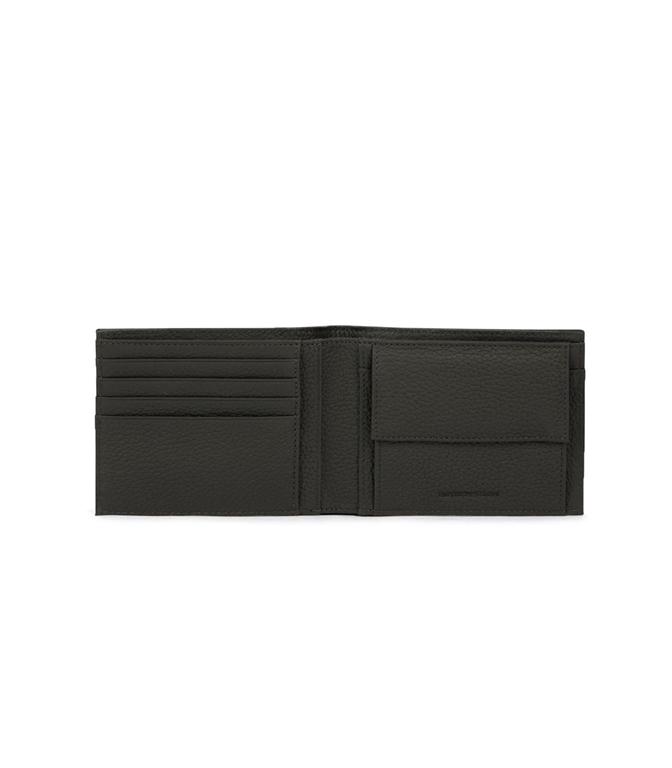 Emporio Armani - Saldi - set portafoglio e portachiavi in pelle martellata nero 1