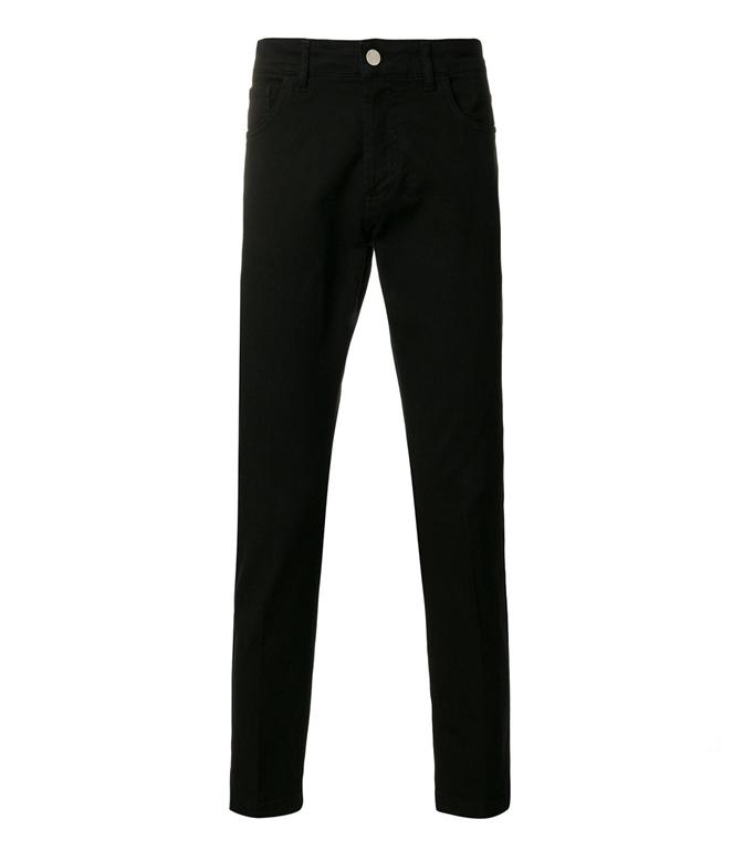 Entre Amis - Pantaloni - pantalone cinque tasche cotone corto con zip nero