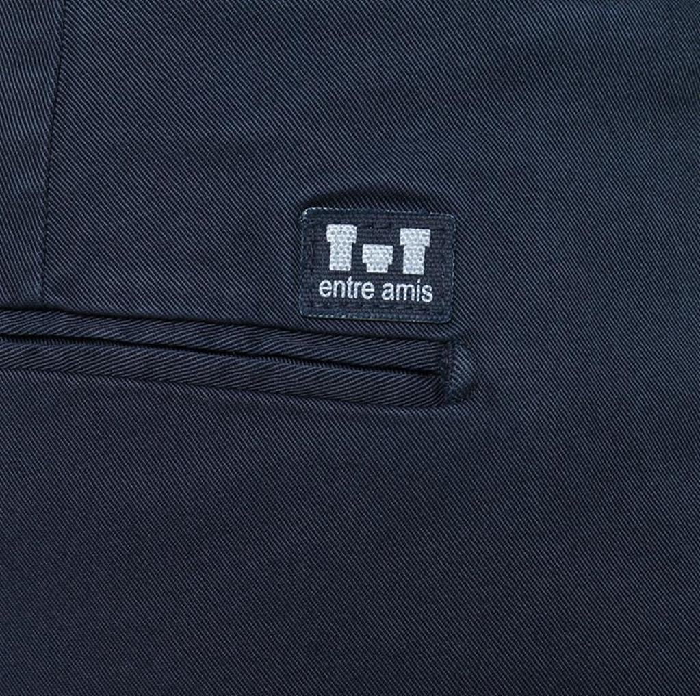 Entre Amis - Pantaloni - pantalone tasca america lungo con logo in tessuto blu 1
