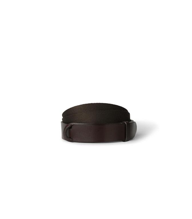 """Orciani - Cinture - cintura nobuckle """"bull"""" in cuoio e tessuto t. moro"""