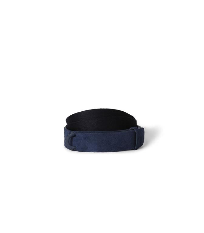 """Orciani - Cinture - cintura nobuckle""""suede"""" in camoscio e tessuto blu'"""