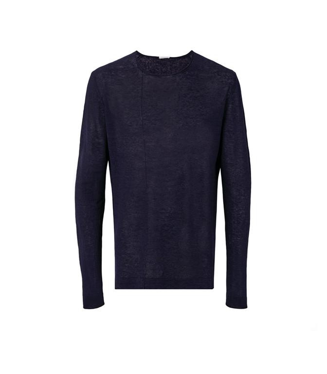 Paolo Pecora - Maglie - t-shirt manica lunga in lino blu cassico