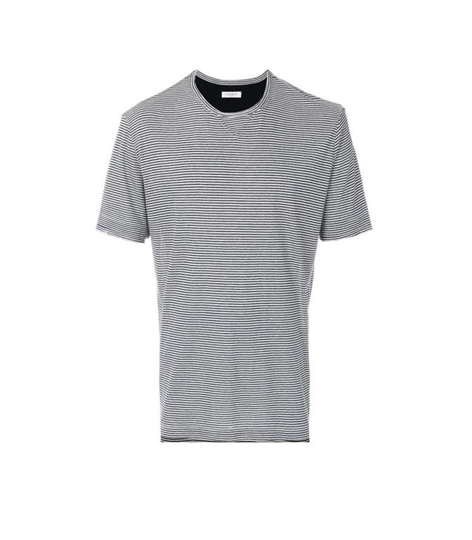 Paolo Pecora - T-Shirt - T-SHIRT A MICRORIGHE BLU/BIANCA