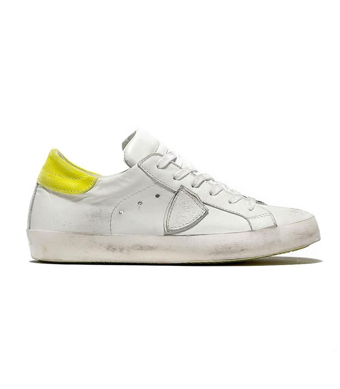 Philippe Model - Scarpe - Sneakers - SNEAKER IN PELLE PARIS BLANC/JAUNE
