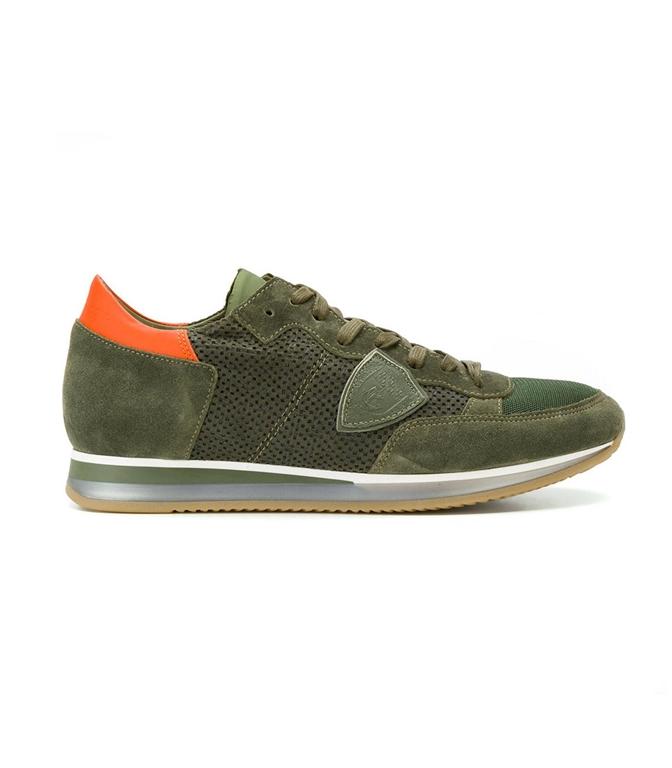 Philippe Model - Saldi - sneaker in suede tropez perfore' vert