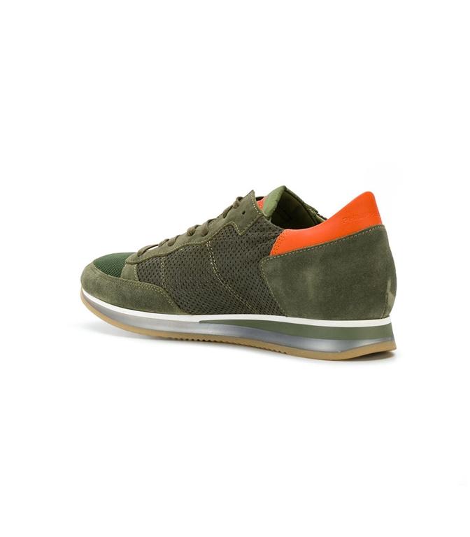 Philippe Model - Saldi - sneaker in suede tropez perfore' vert 1