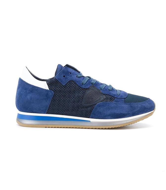 Philippe Model - Saldi - sneaker in suede tropez perfore' bleu