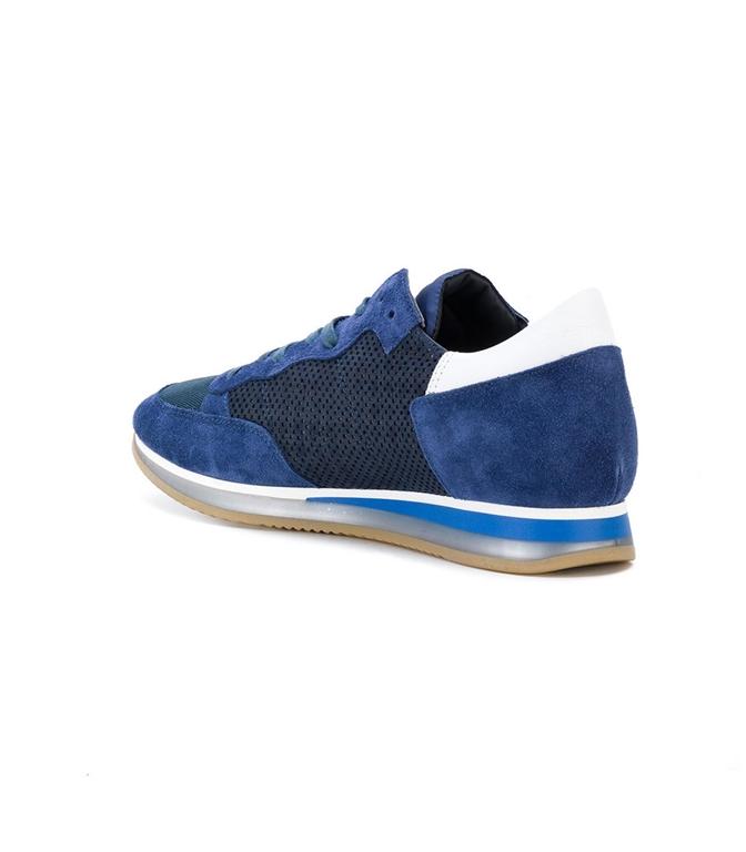 Philippe Model - Saldi - sneaker in suede tropez perfore' bleu 1