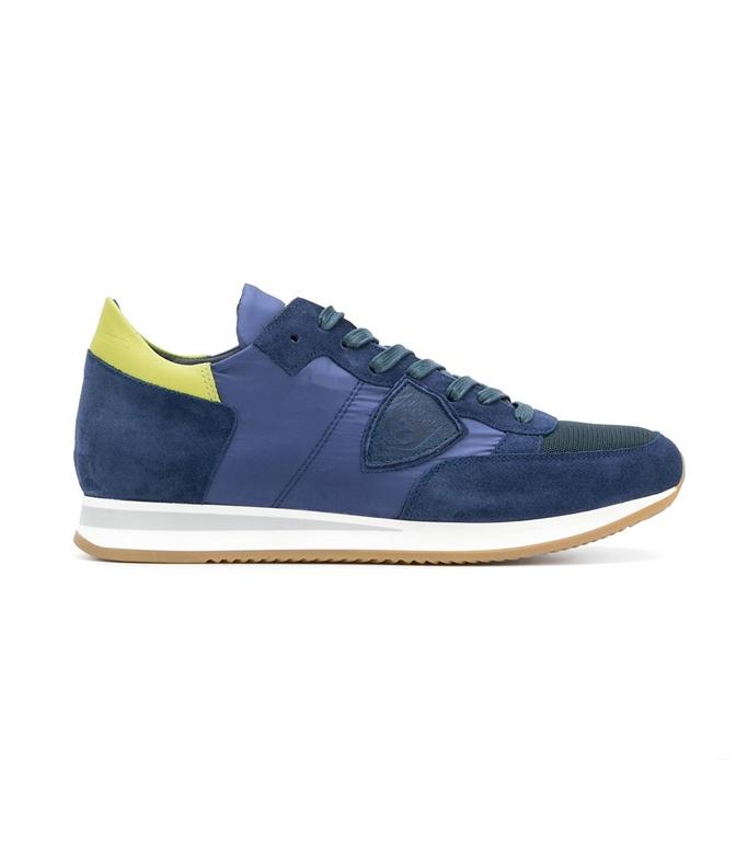 Philippe Model - Scarpe - Sneakers - SNEAKER IN SUEDE TROPEZ MONDIAL BLEU/CITRON