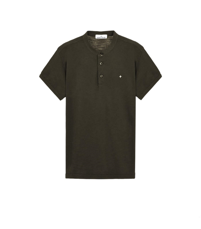 Stone Island - T-Shirt - T-SHIRT TINTO FISSATO VERDE MILITARE