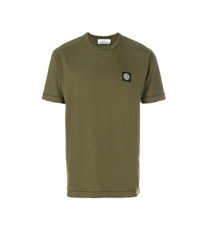 Stone Island - T-Shirt - T-SHIRT COTONE VERDE MILITARE
