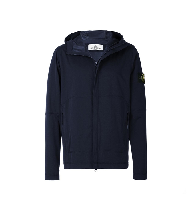 Stone Island - Giubbotti - LIGHT SOFT SHELL SI CHECK GRID BLU