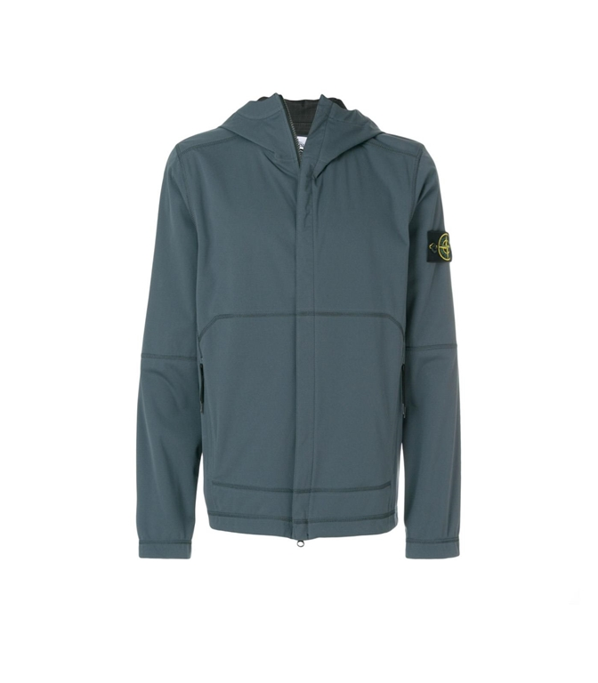 Stone Island - Giubbotti - light soft shell si check grid peltro