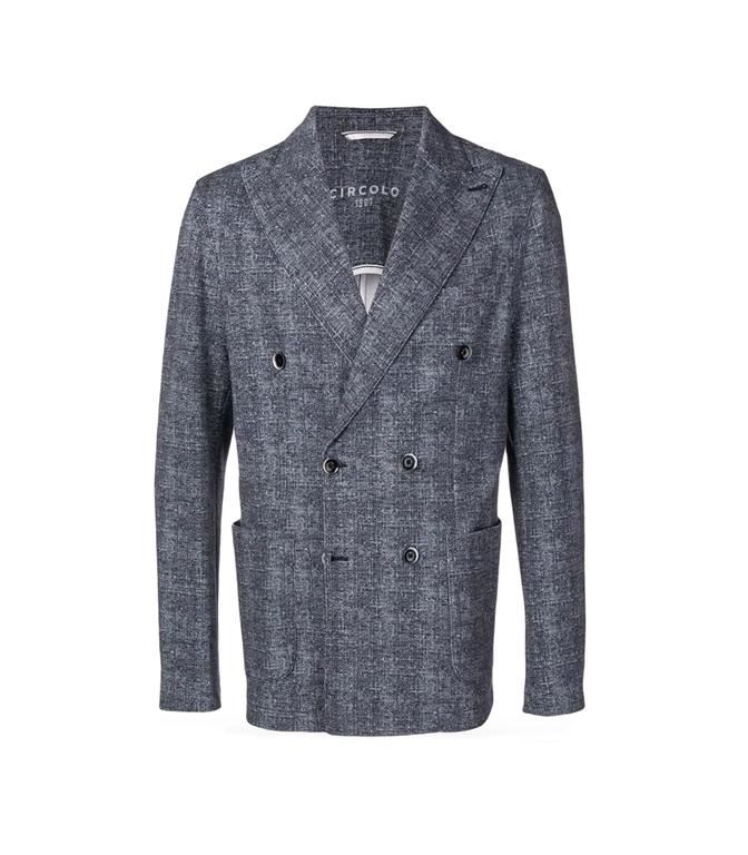 Circolo 1901 - Outlet - giacca doppiopetto piquet drill blu