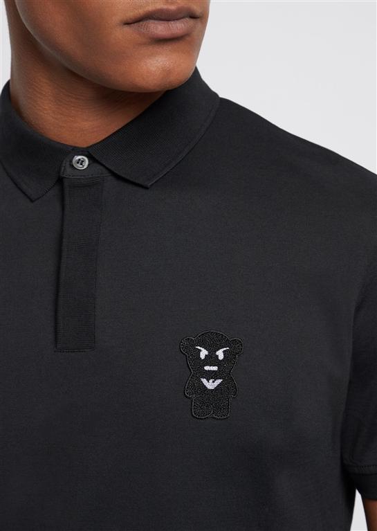 Emporio Armani - Polo - polo con patch manga bear nera 1