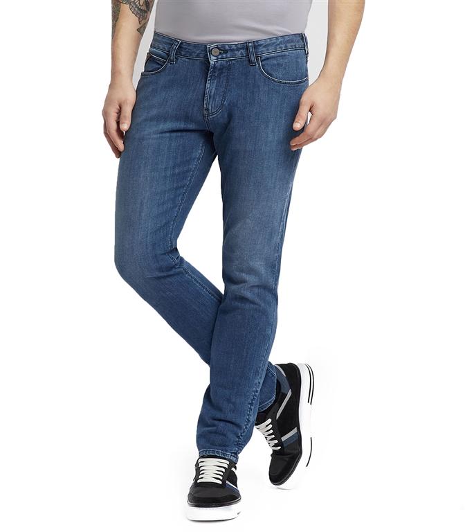Emporio Armani - Jeans - jeans j36 in denim di cotone twill con foulard logato