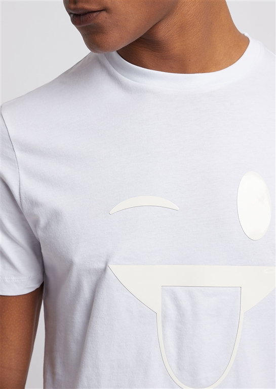 Emporio Armani - T-Shirt - t-shirt in jersey con stampa emoticon e spilla logo bianca 1