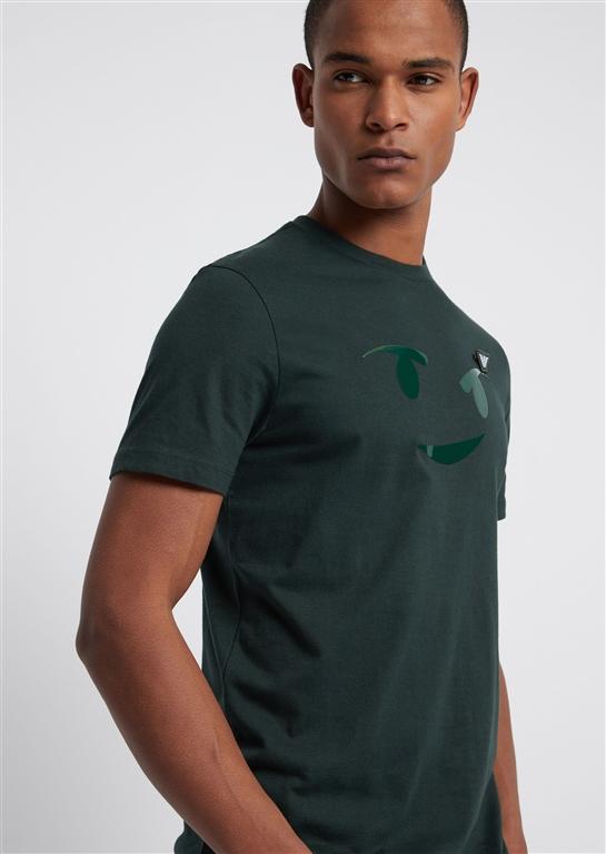 Emporio Armani - T-Shirt - t-shirt in jersey con stampa emoticon e spilla logo verde 1