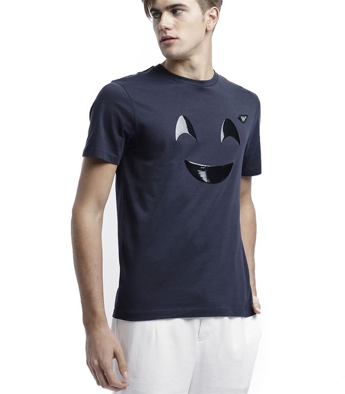 Emporio Armani - T-Shirt - T-SHIRT IN JERSEY CON STAMPA EMOTICON E SPILLA LOGO BLU