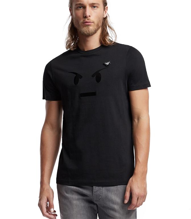 Emporio Armani - T-Shirt - T-SHIRT IN JERSEY CON STAMPA EMOTICON E SPILLA LOGO NERA