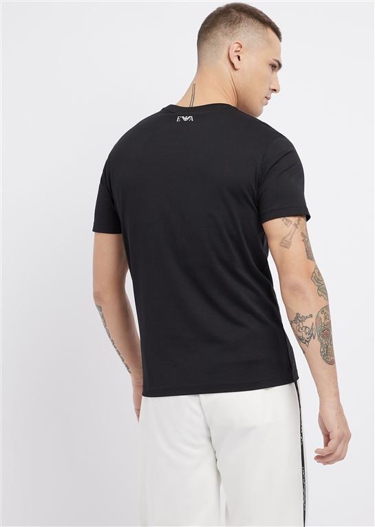 Emporio Armani - Saldi - t-shirt in jersey di cotone mercerizzato con spille logate nera 1