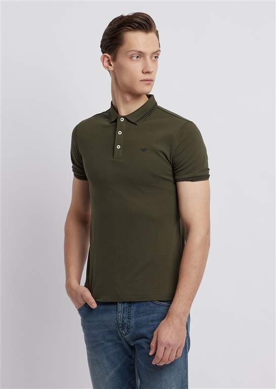 7276b0335a COTTON PIQUÉ POLO SHIRT WITH CONTRASTING LOGO ON CHEST MILITARY GREEN