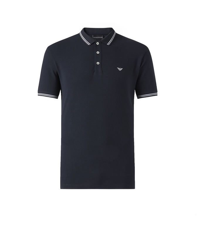 Emporio Armani - Polo - polo in cotone stretch blu