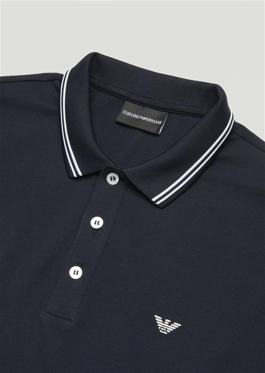 Emporio Armani - Saldi - polo in cotone stretch blu 1