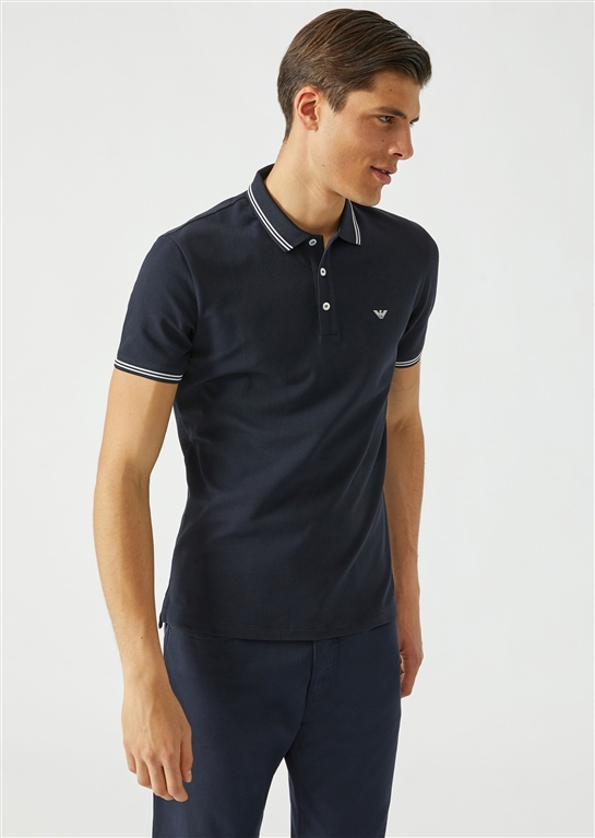 81a618d238 COTTON PIQUÉ POLO SHIRT WITH CONTRASTING LOGO ON CHEST BLU