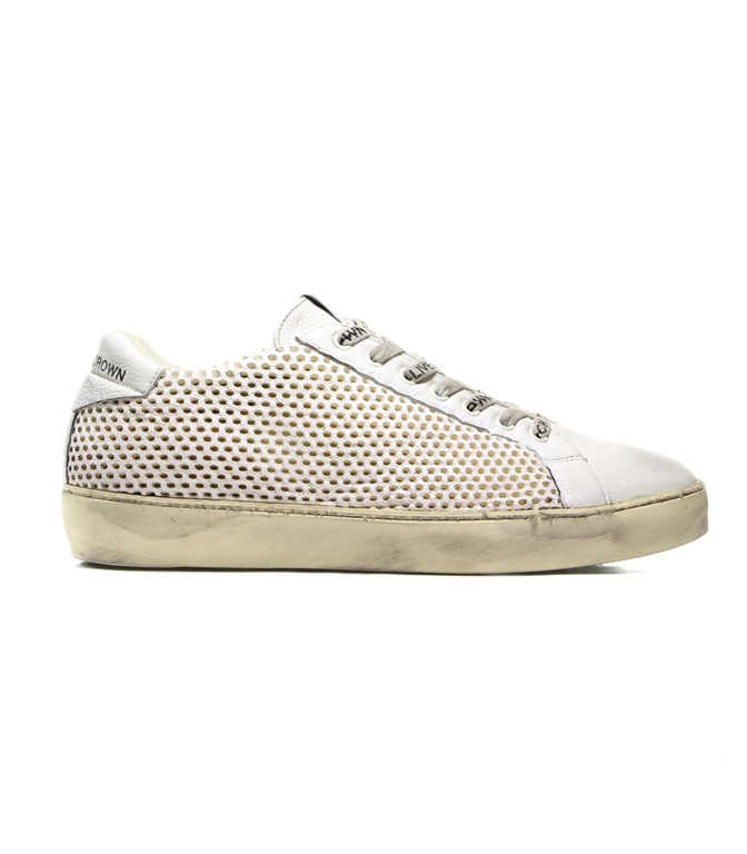 Leather Crown - Scarpe - Sneakers - SNEAKER M ICONIC TRAFORATA WHITE