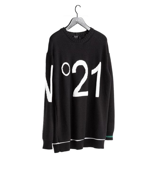 N°21 - Maglie - maglione girocollo con logo nero