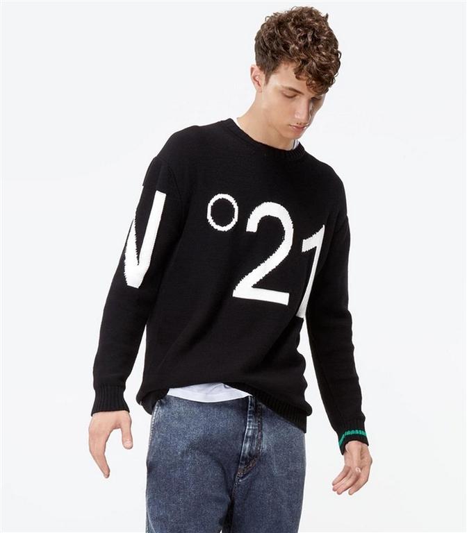 N°21 - Maglie - maglione girocollo con logo nero 1
