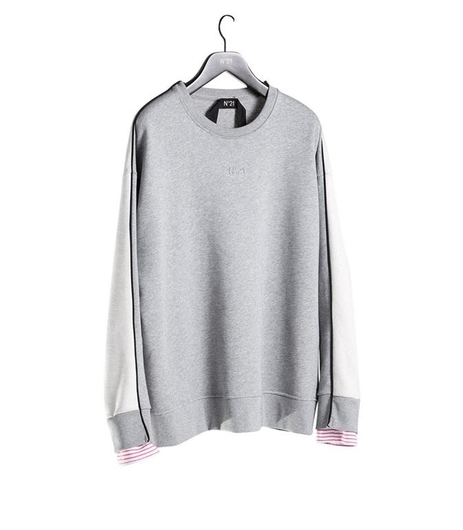 N°21 - Outlet - felpa con logo 3d grigio melange