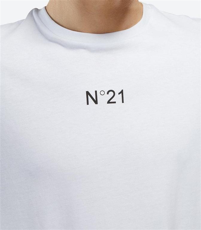 N°21 - T-Shirt - t-shirt girocollo con stampa logo bianca 1