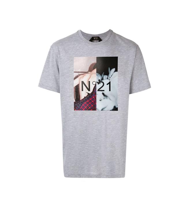 N°21 - T-Shirt - T-SHIRT CON GIROCOLLO E STAMPA FOTOGRAFICA MELANGE