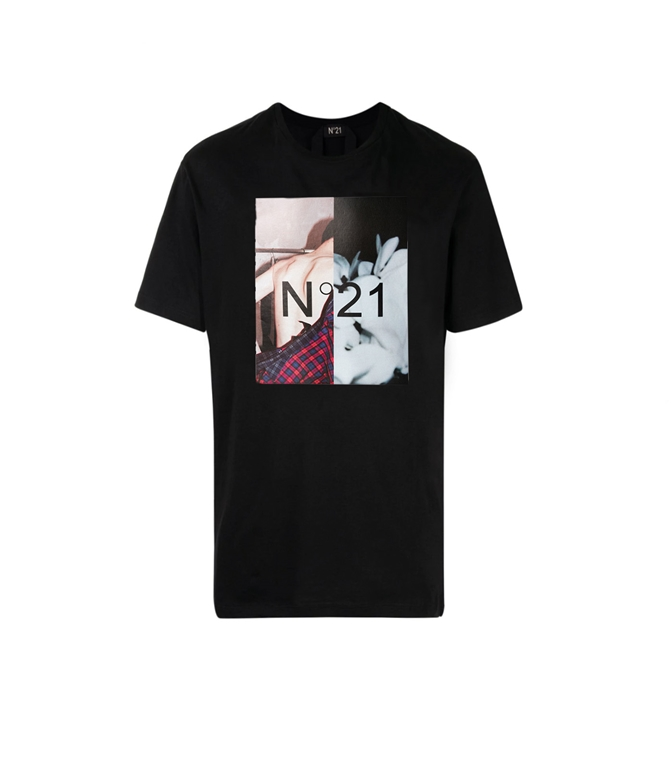 N°21 - Saldi - t-shirt con girocollo e stampa fotografica nera 2