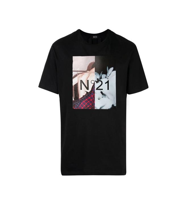 N°21 - T-Shirt - t-shirt con girocollo e stampa fotografica nera 2
