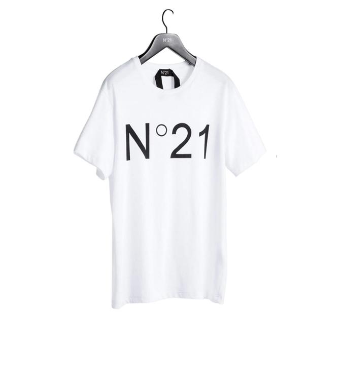 N°21 - T-Shirt - t-shirt con logo stampato bianca