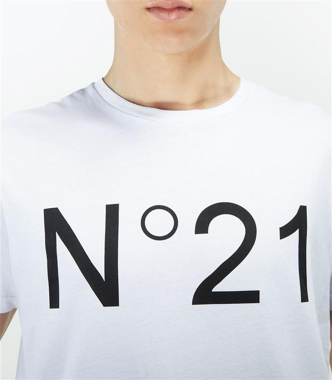 N°21 - T-Shirt - t-shirt con logo stampato bianca 1
