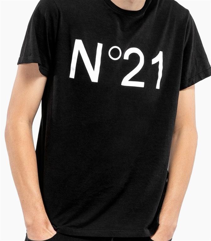 N°21 - T-Shirt - t-shirt con logo stampato nera 1