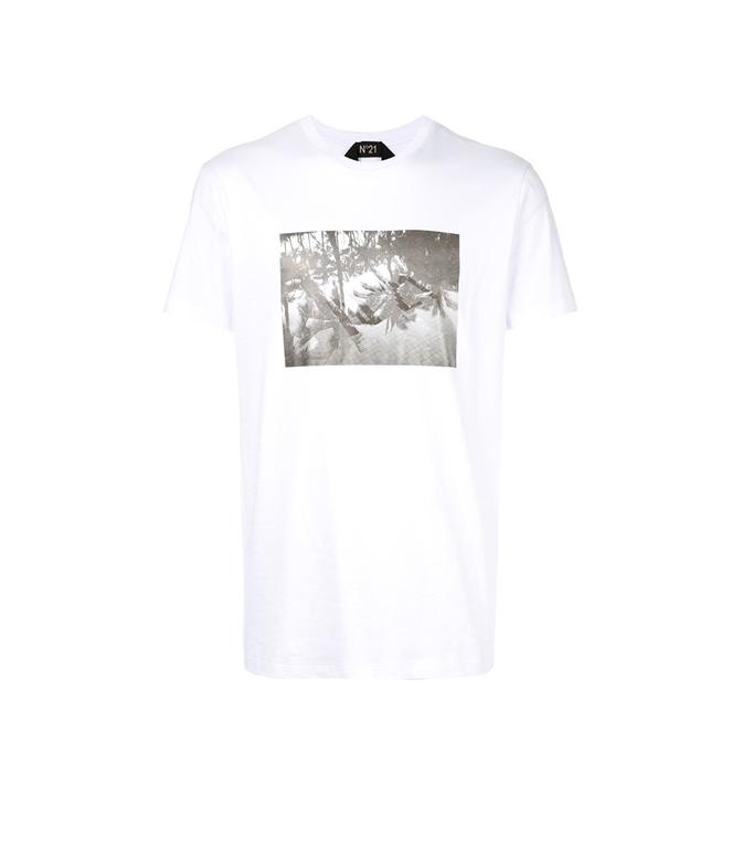 N°21 - Outlet - t-shirt con girocollo e stampa fotografica bianca