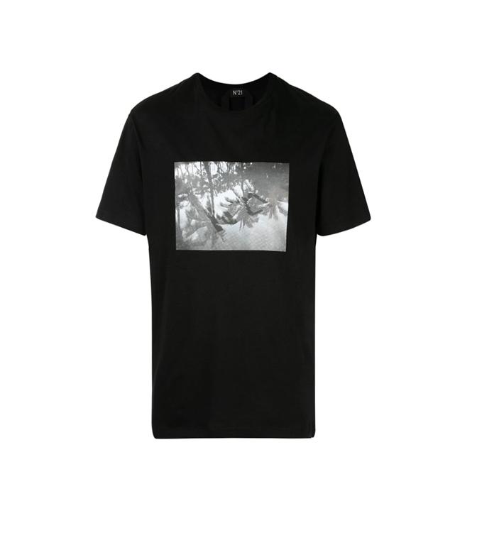 N°21 - Outlet - t-shirt con girocollo e stampa fotografica nera