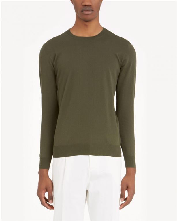 Paolo Pecora - Maglie - pullover girocollo tinta unita verde loden 1