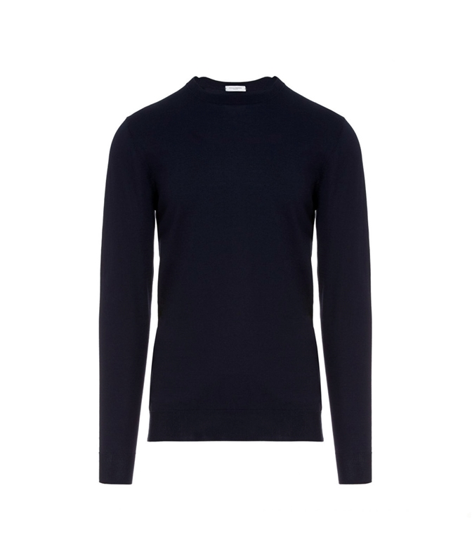 Paolo Pecora - Maglie - pullover girocollo tinta unita blu