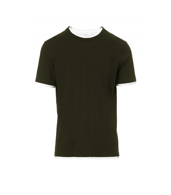 Paolo Pecora - T-Shirt - t-shirt con bordi a contrasto verde